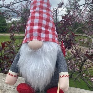 NEW adorable red check fabric gnome